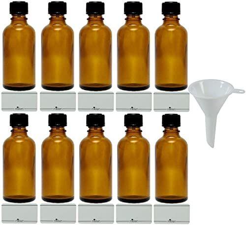 mikken - 10 x brązowa butelka apteczna 50 ml Made in Germany, z etykietami do opisywania + lejkiem