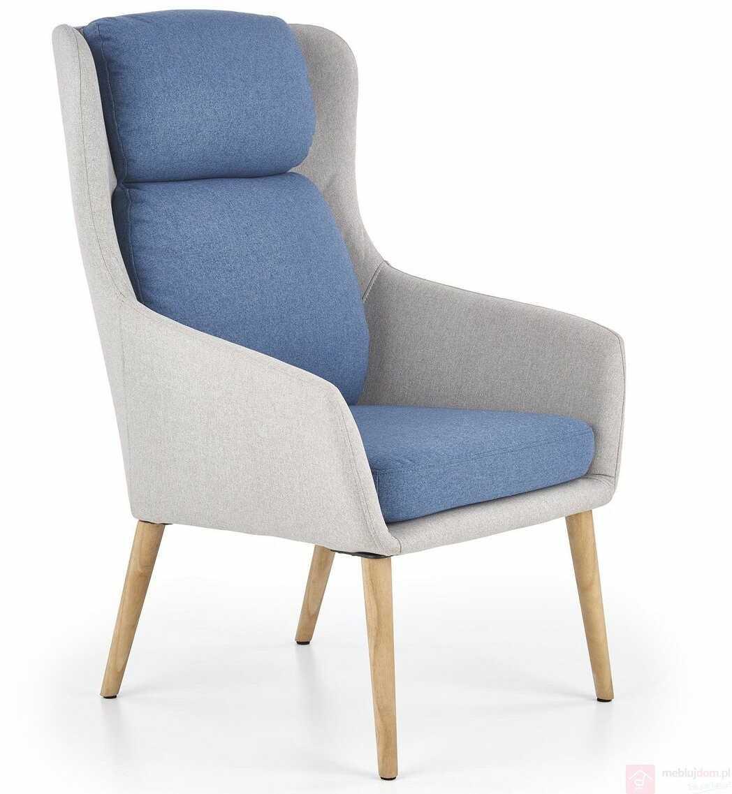Fotel PURIO Halmar Szary + niebieski