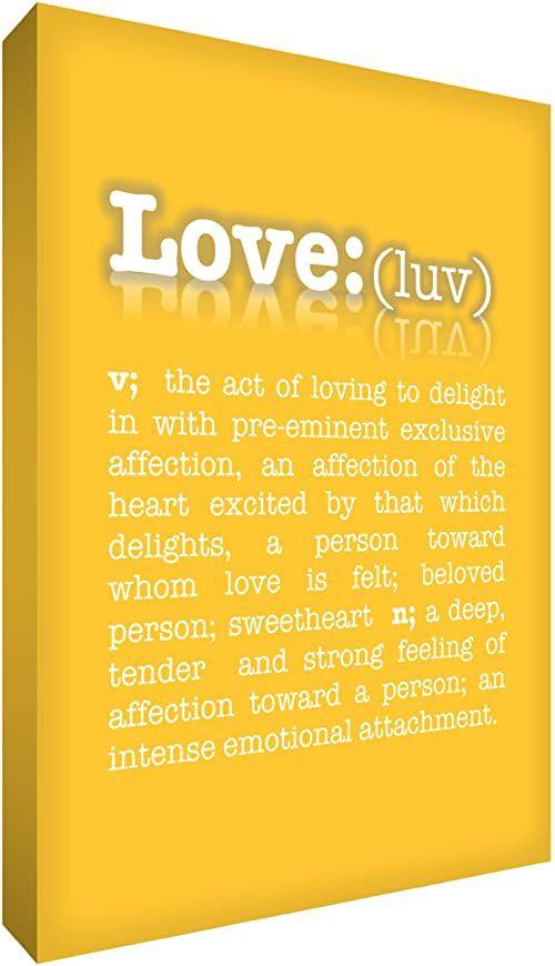 Feel Good Art 40 x 61 cm A2 duży nowoczesny słownik typograficzny opis miłość grube pudełko płótno, żółty