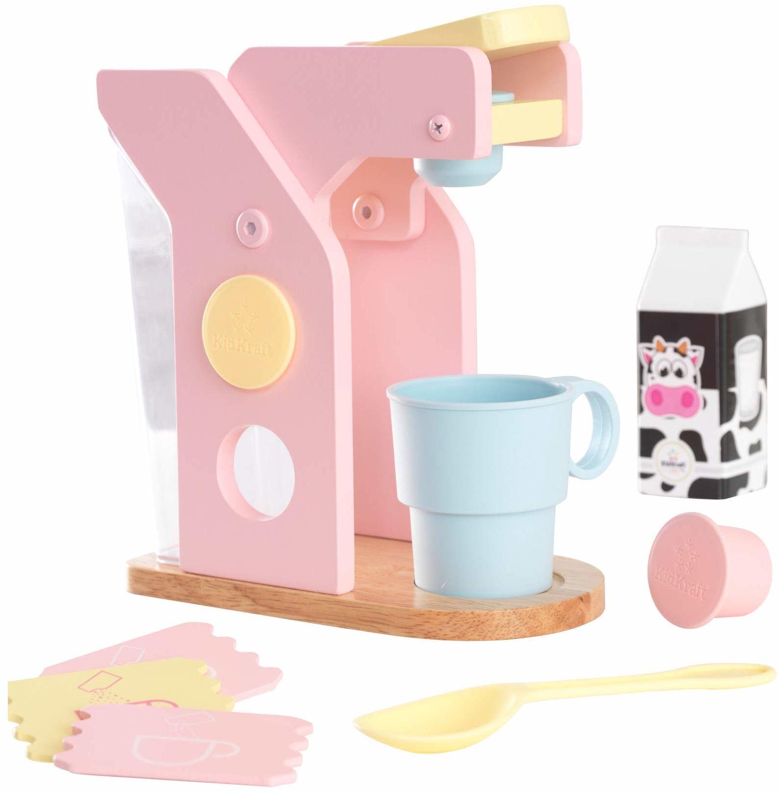 KidKraft 63380 pastelowy drewniany zestaw do kawy ''Pretend Play'', akcesoria do gotowania dla dzieci zabawka kuchnia