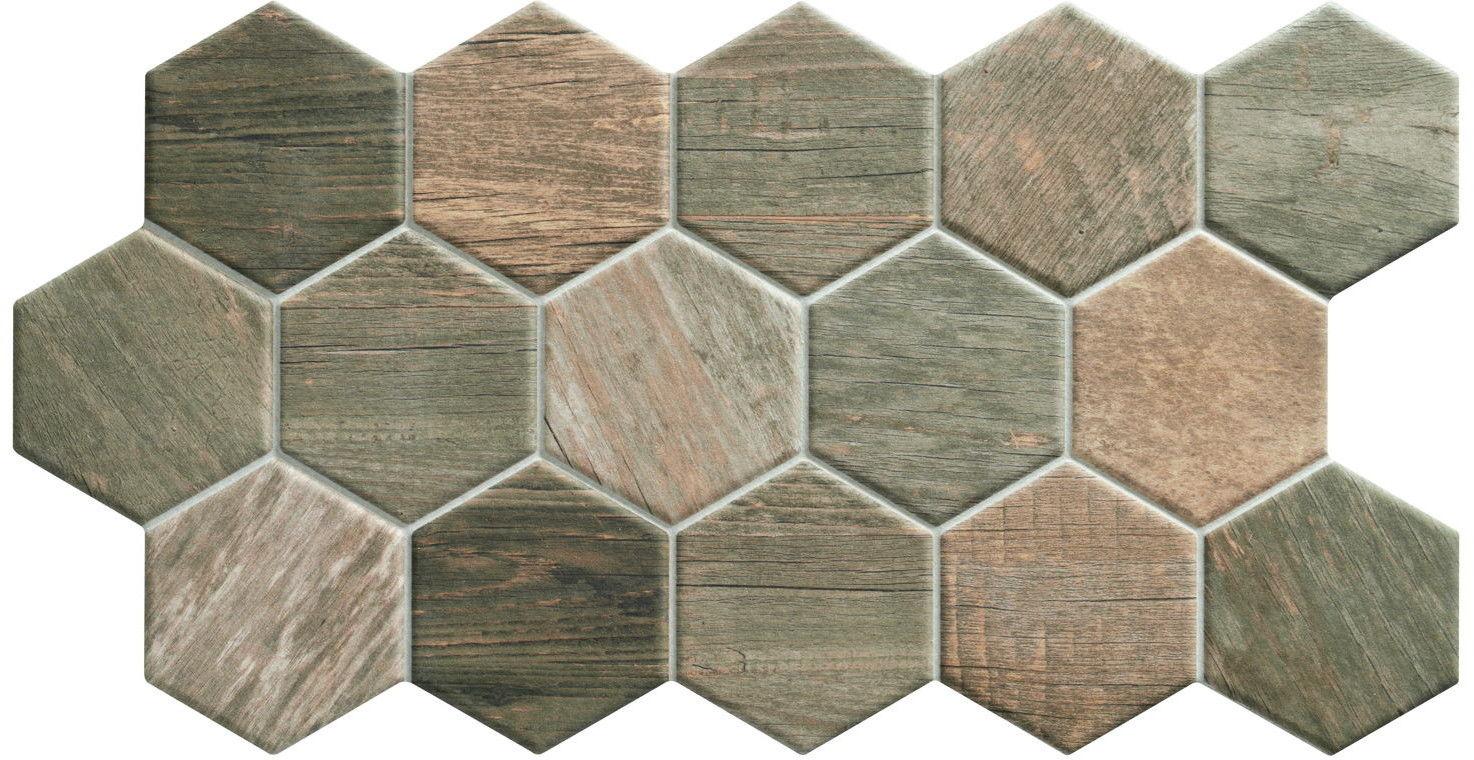 Sequoia Hex Tobacco 26,5x51 płytki heksagonalne gresowe