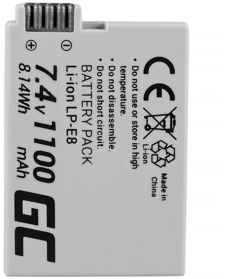 Akumulator Bateria Green Cell  LP-E8 LPE8 do Canon EOS 550D 600D 650D 700D Kiss X4 X5 X6 Rebel T2i T4i Full Decoded 7.4V 1100mAh