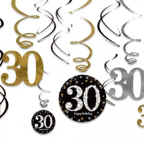 Świderki, dekoracja na 30 urodziny złota&srebrna Sparkling Celebration