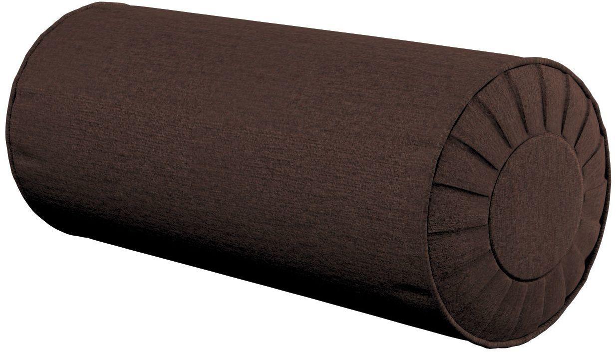 Poduszka wałek z zakładkami, czekoladowy szenil, Ø20  50 cm, Chenille
