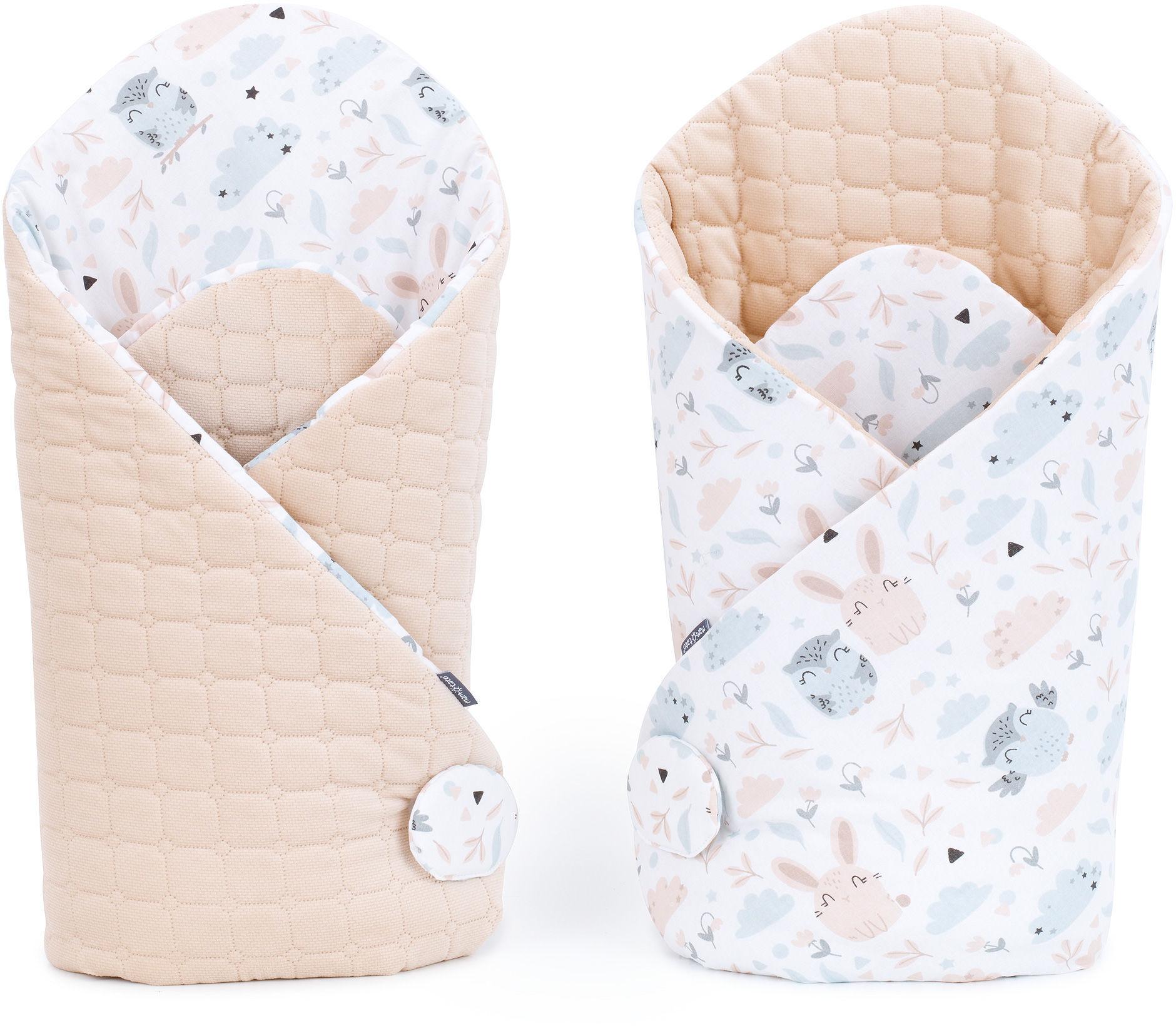 MAMO-TATO Rożek niemowlęcy dwustronny velvet - Polana / piaskowy