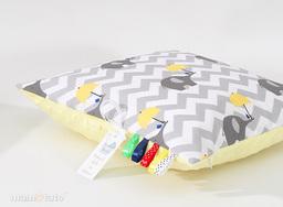 MAMO-TATO Poduszka Minky dwustronna 40x40 Słoń zygzak żółty / żółty