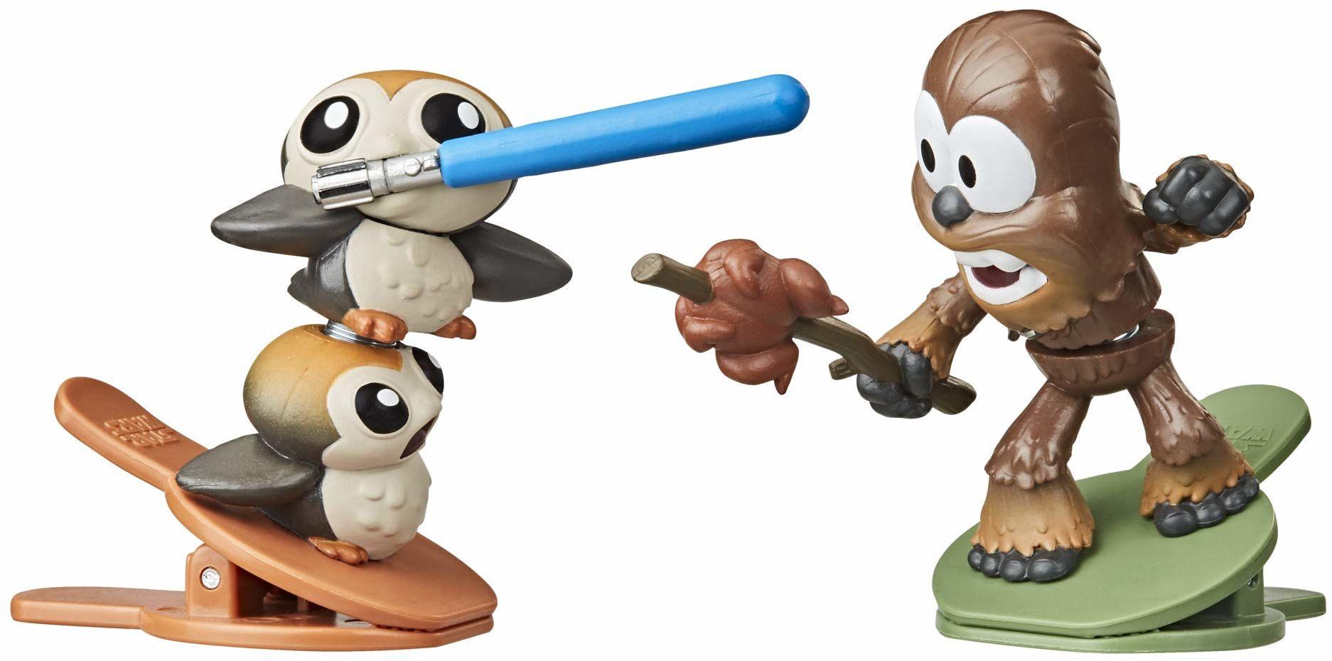 Star Wars Battle Bobblers Porgs Vs Chewbacca Clippable Battling figurka 2-pak, zabawki dla dzieci w wieku od 4 lat