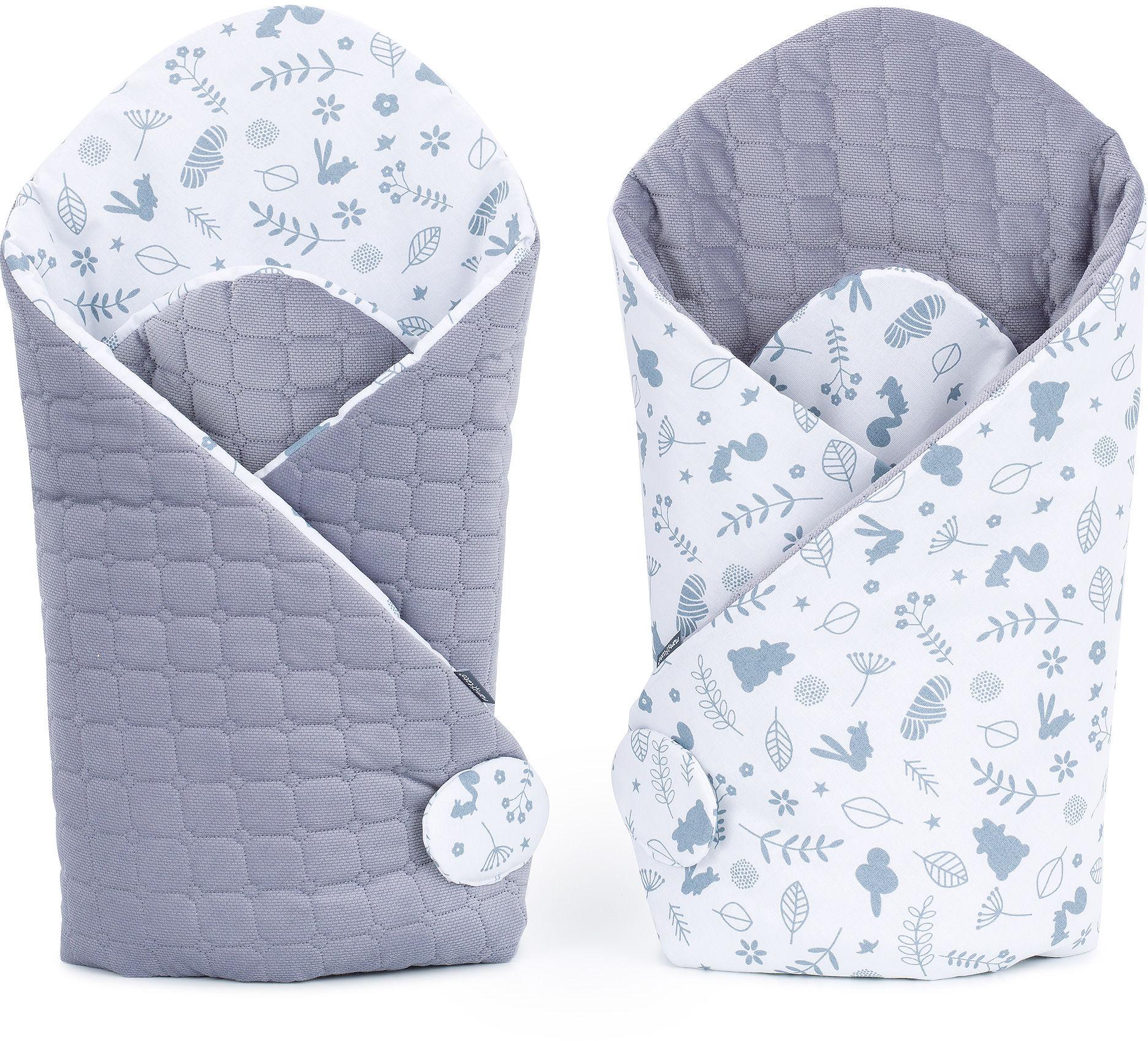 MAMO-TATO Rożek niemowlęcy dwustronny velvet - Las / szary