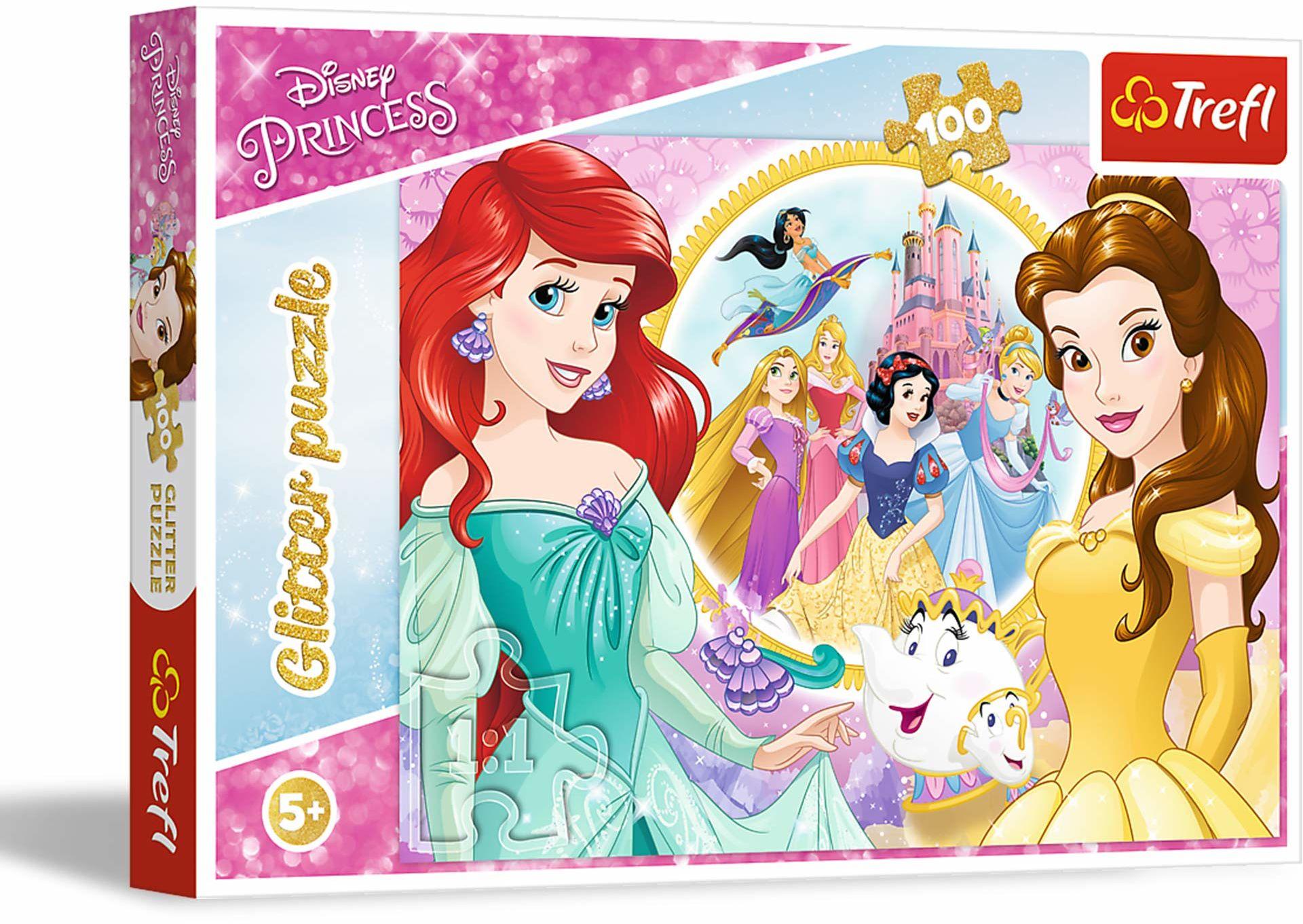 Trefl Wspomnienia Belli i Arielki Puzzle Glitter 100 Elementów Disney dla Dzieci od 5 lat - RÓŻNE WZORY