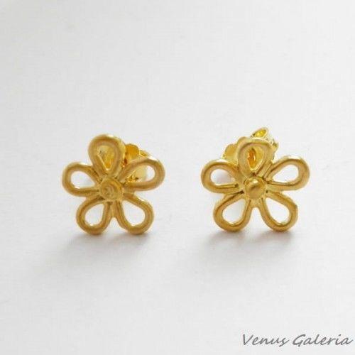 Kolczyki srebrne pozłacane- Ażurowe kwiatuszki