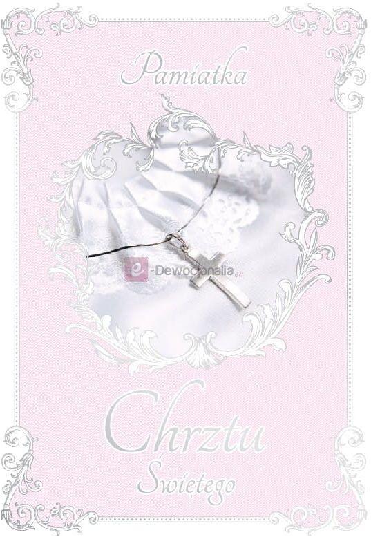 Karnet dla dziewczynki ROYAL PINK kartka na Chrzest Święty
