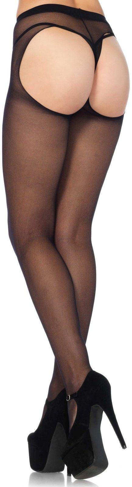 Leg Avenue Sheer Thong Back Pantyhose 1902 Black