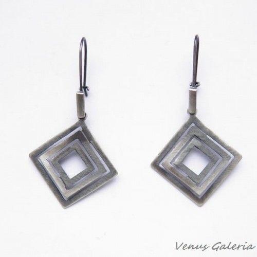 Kolczyki srebrne oksydowane - Quadratum na biglach