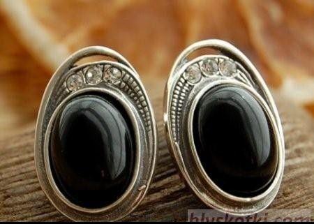 Duomo - srebrne kolczyki onyks z kryształami