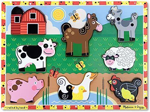 Melissa & Doug Farm grube puzzle łamigłówki drewniana zabawka 2+ prezent dla chłopca lub dziewczynki
