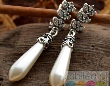 Aberdeen - srebrne kolczyki kryształy i perłowa sopla1