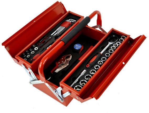 Skrzynka narzędziowa z wyposażeniem 64el.