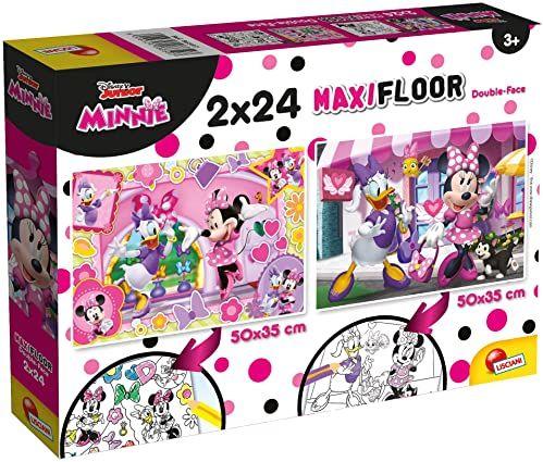 Liscianigiochi 86597 Disney Supermaxi 2 x 24 Minnie Puzzle dla dzieci, wielokolorowe
