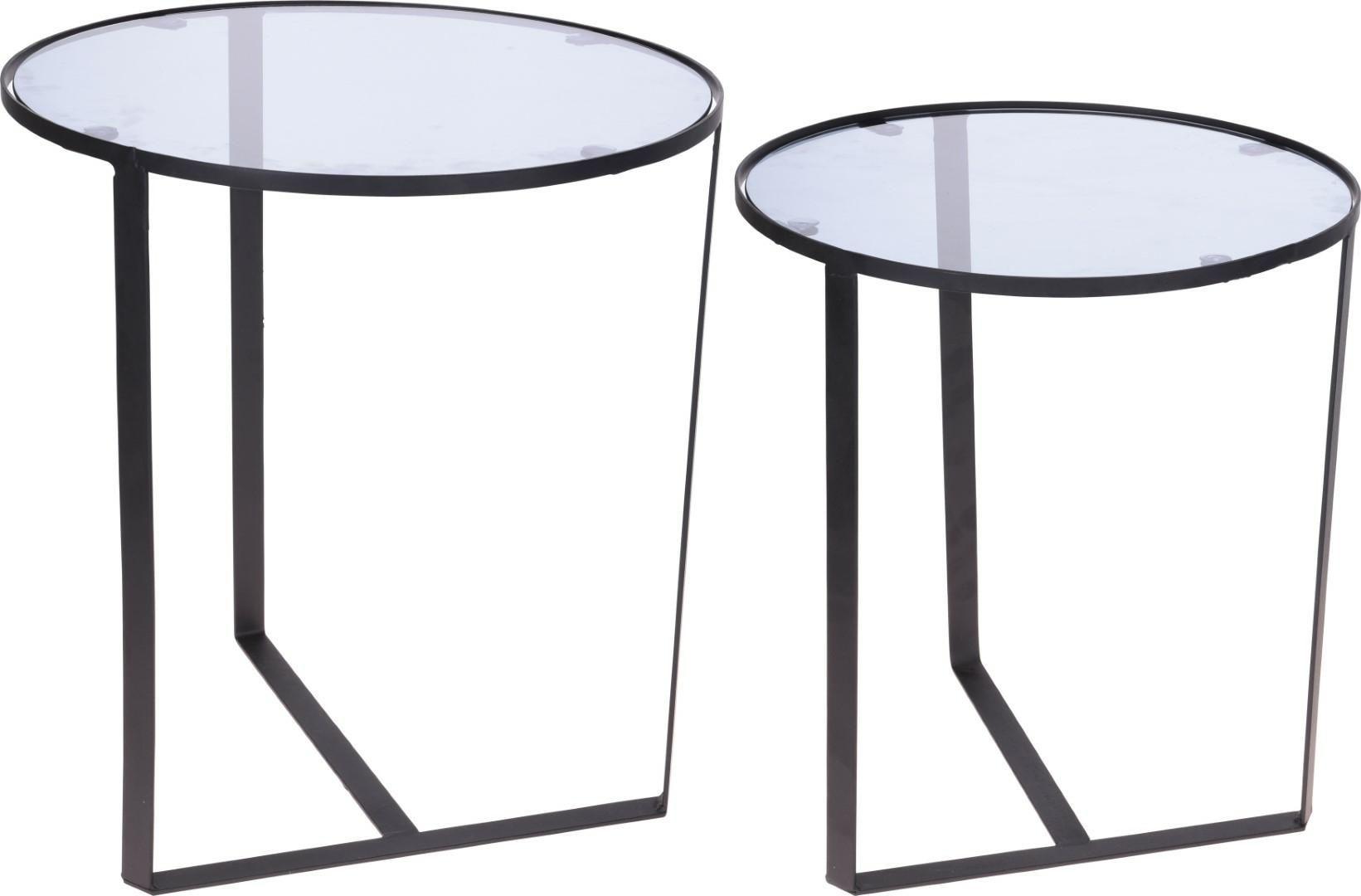 Zestaw stolików HAMPTON czarny-przezroczysty