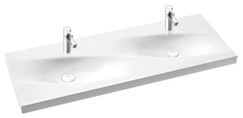Marmorin Noel 1200 duet umywalka wpuszczana w blat 120x45 bez przelewu i z otworem na baterie biała 583120020011