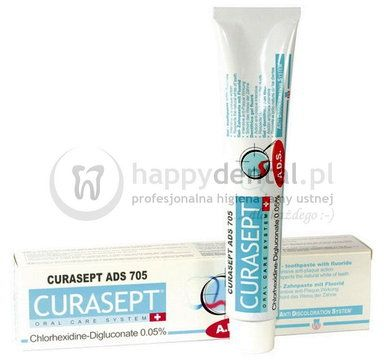 CURASEPT ADS 705 75ml - pasta do zębów w żelu z chlorheksydyną 0.05% i dodatkiem fluoru