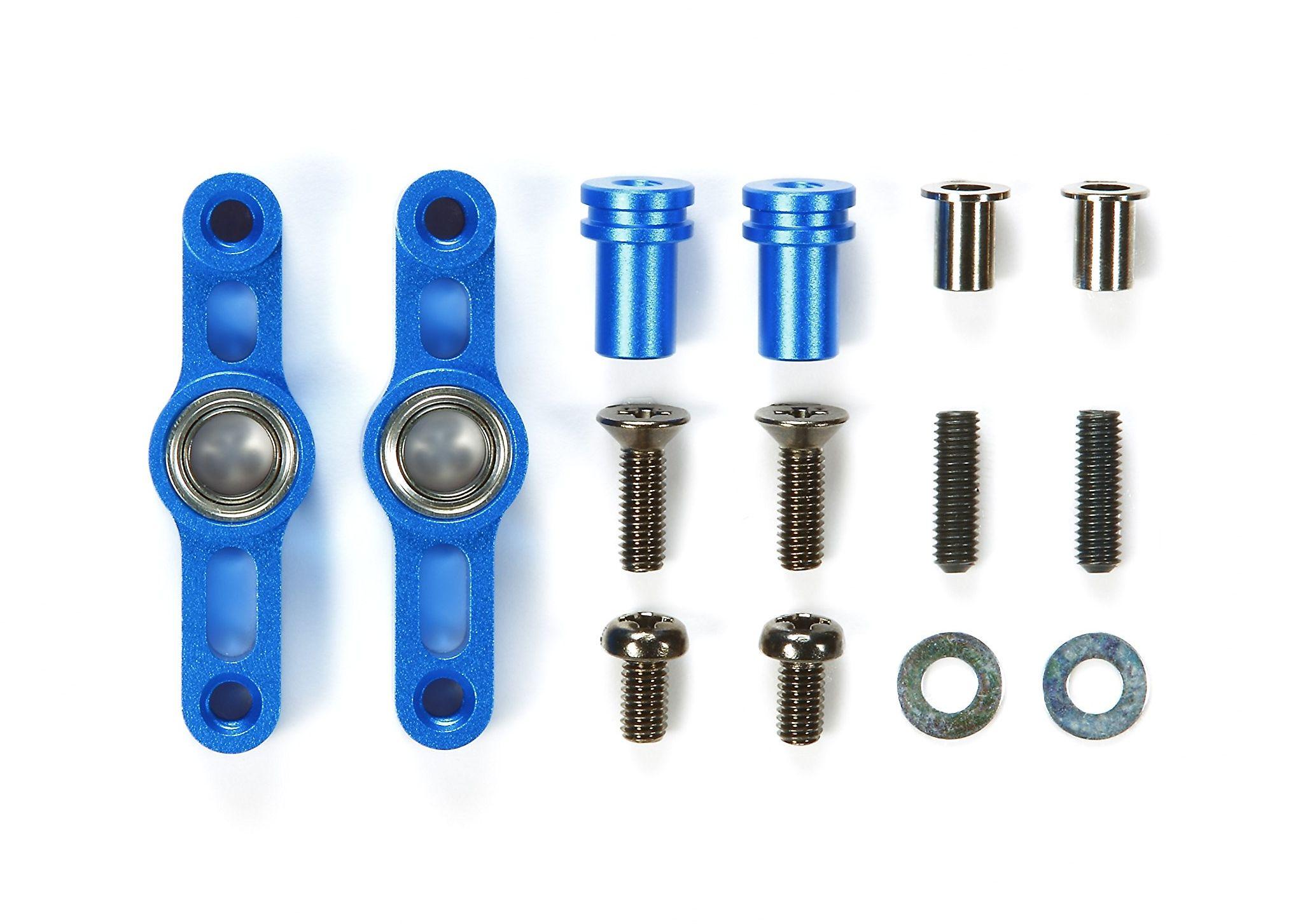 Tamiya 300054574 - TT-02 aluminiowy zestaw dźwigni kierownicy, niebieski anodowany