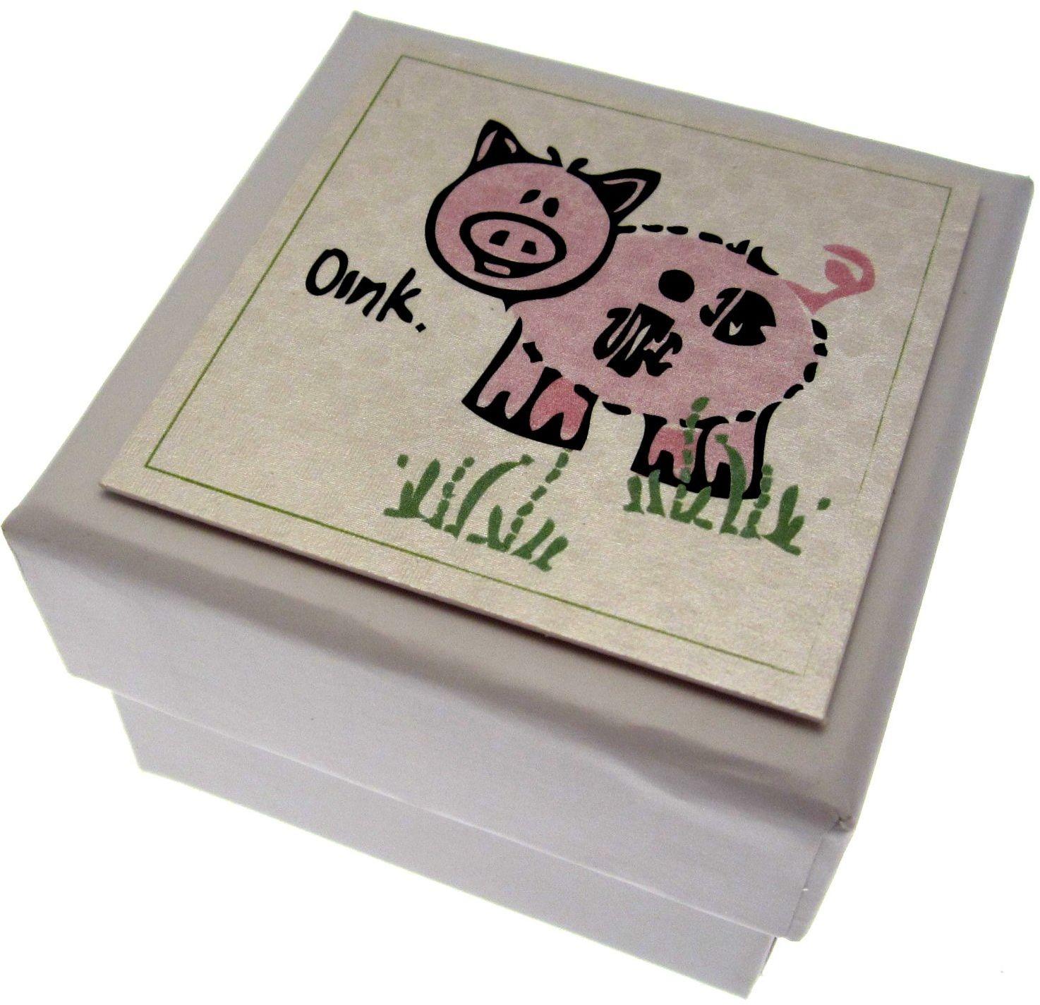 Białe bawełniane karty, pudełko na prezent dla dzieci Pig Party Children'', pojemnik do napełniania, z pokrywką