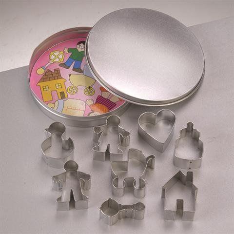 Efco Foremki do wycinania ciastek rodzinne niemowlę ø 12 cm / 3,5-4,5 cm 9 części, metal, srebrny, 10 x 10 x 2 cm