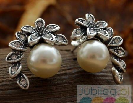 Rozmaryn - srebrne kolczyki z perlami i kryształami