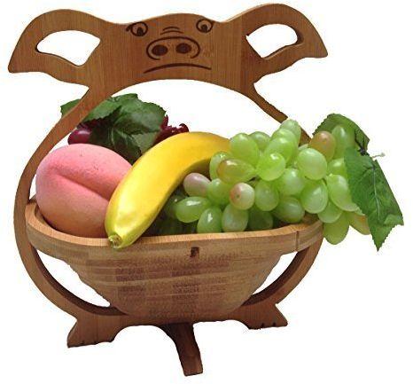 GMMH Kosz na owoce, miska dekoracyjna, miska na owoce, drewniana, składana (wzór świnki)