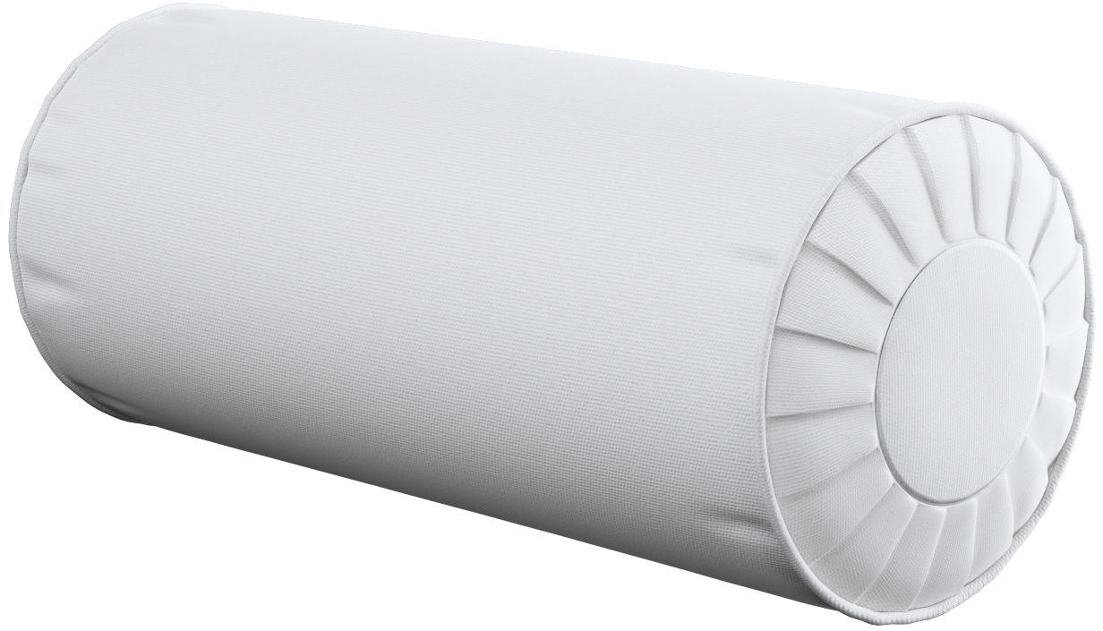 Poduszka wałek z zakładkami, śmietankowa biel, Ø20  50 cm, Loneta