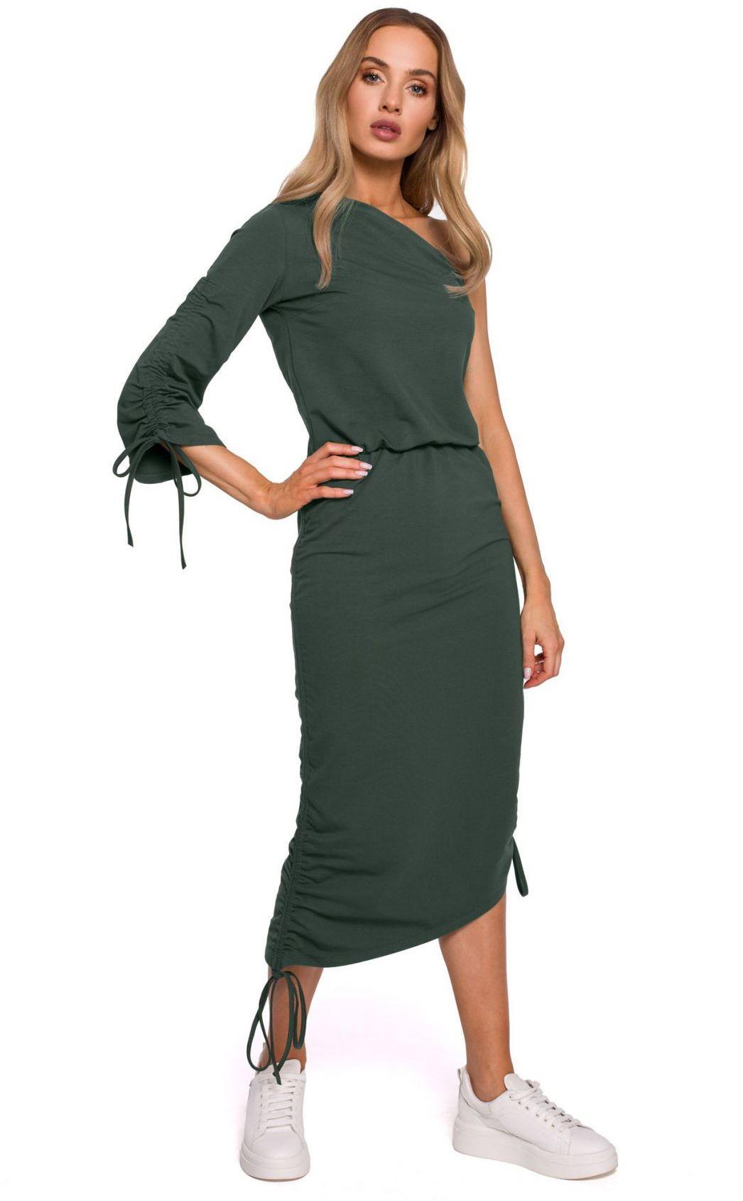 M580 Sukienka na jedno ramię - khaki