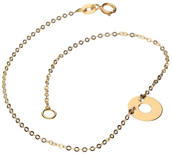 Złota bransoletka 585 zawieszka ring kółko 0,55 g