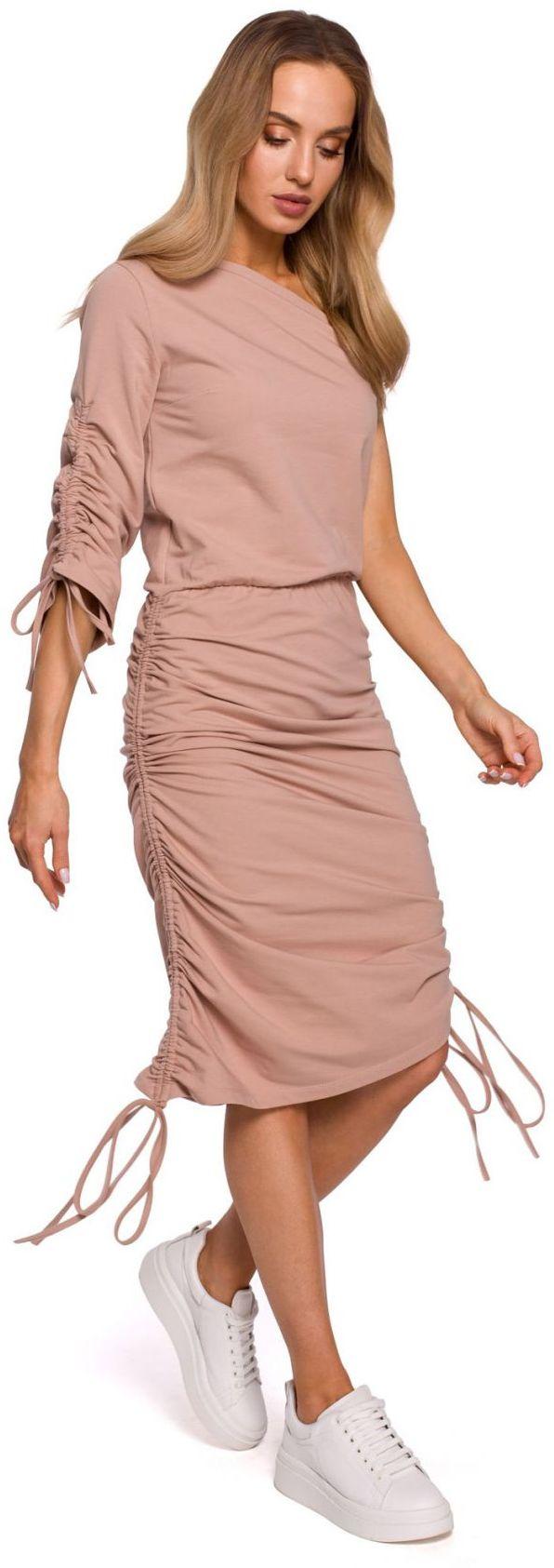 M580 Sukienka na jedno ramię - mocca