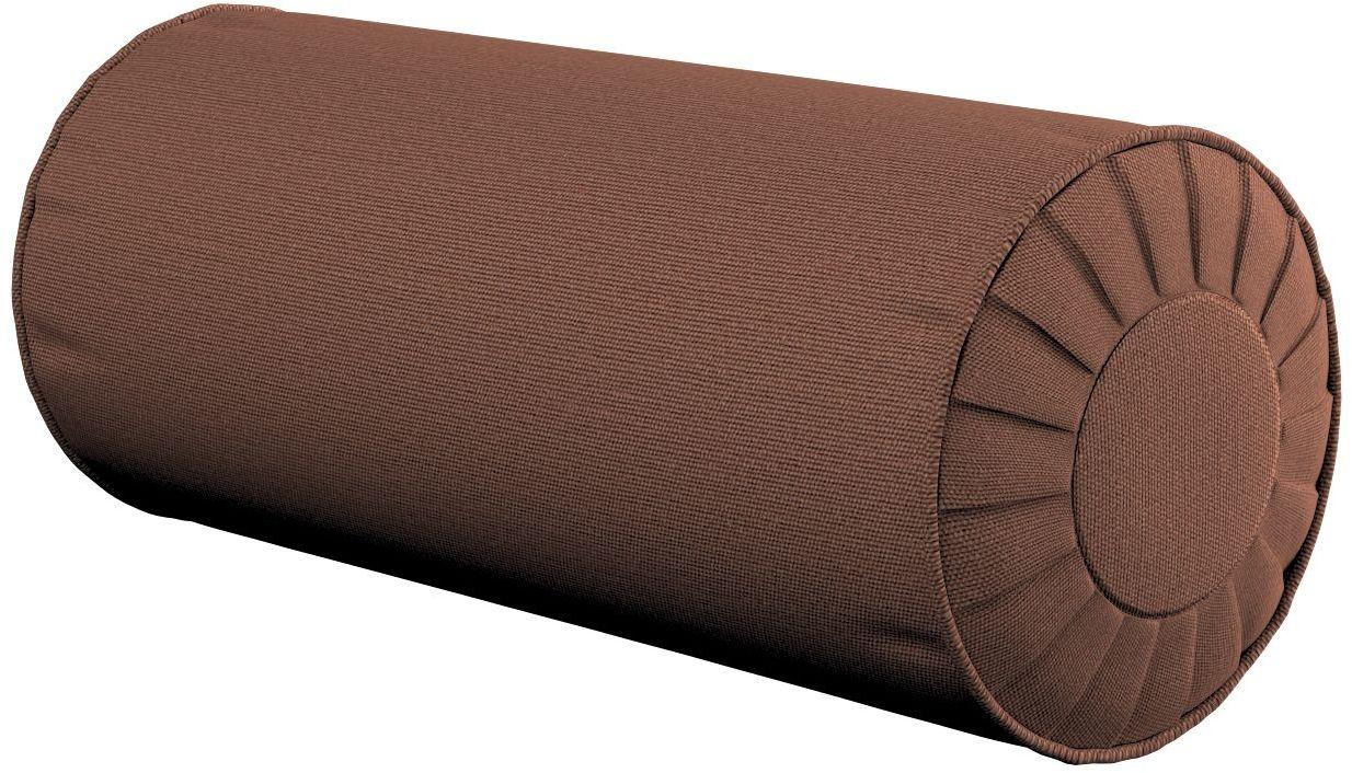 Poduszka wałek z zakładkami, brązowy, Ø20  50 cm, Loneta
