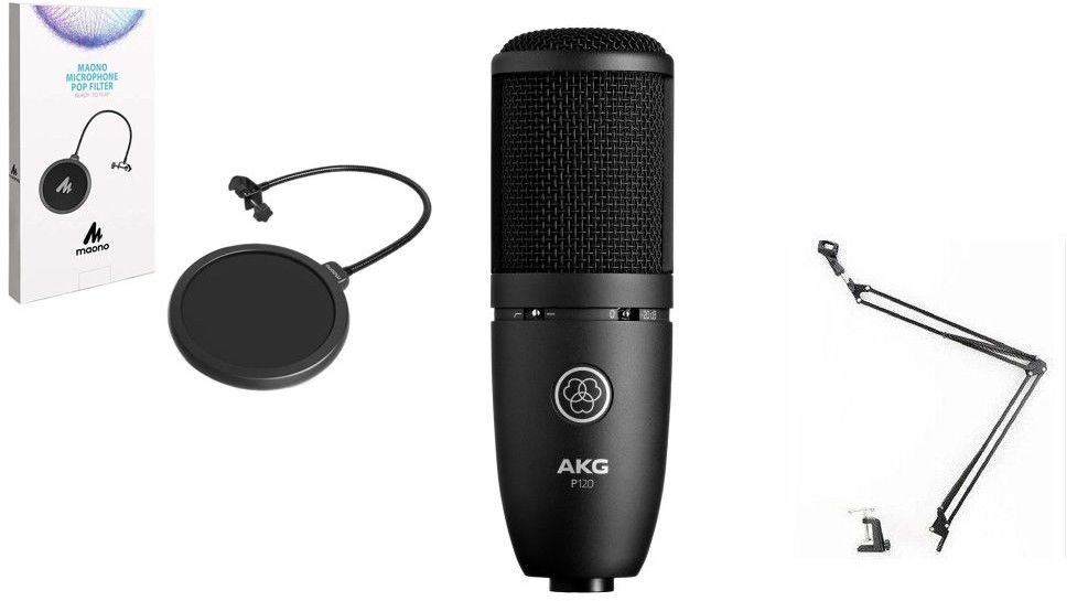 AKG P120 - mikrofon pojemnościowy + statyw + pop filtr