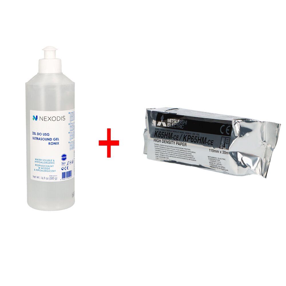 Zestaw! Papier do videoprintera USG Mitsubishi K-65HM + Żel do USG NEXODIS - butelka 500 ml