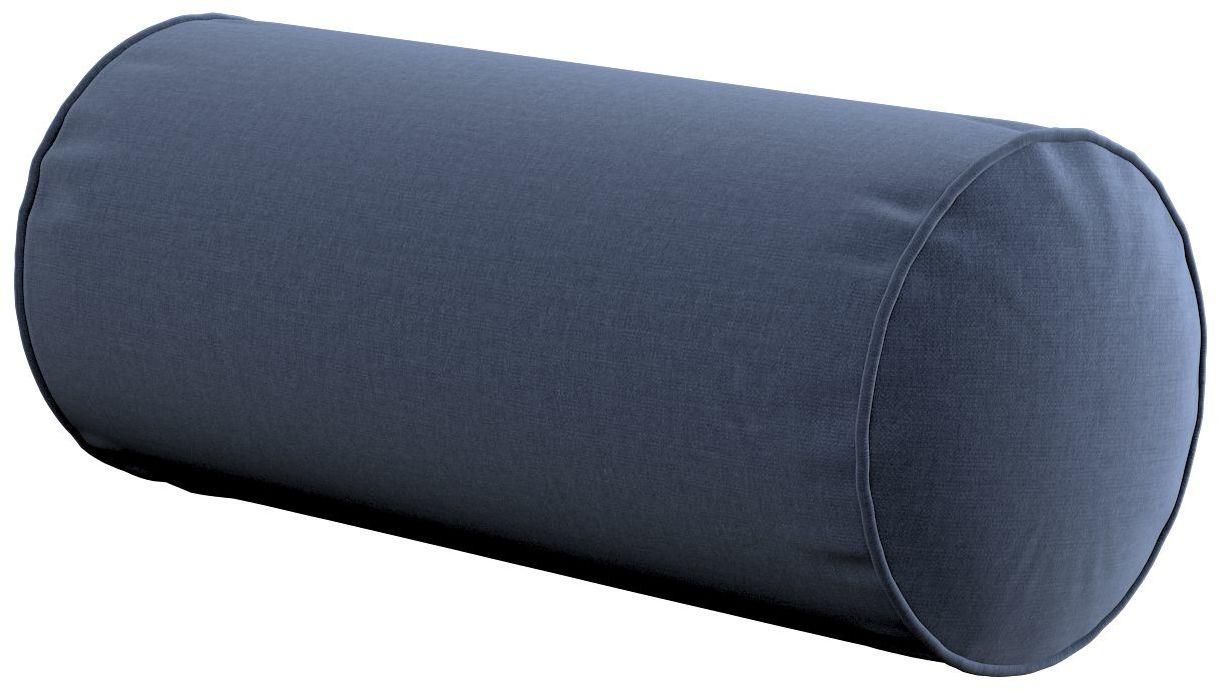 Poduszka wałek prosty, granatowy welwet, Ø16  40 cm, Ingrid