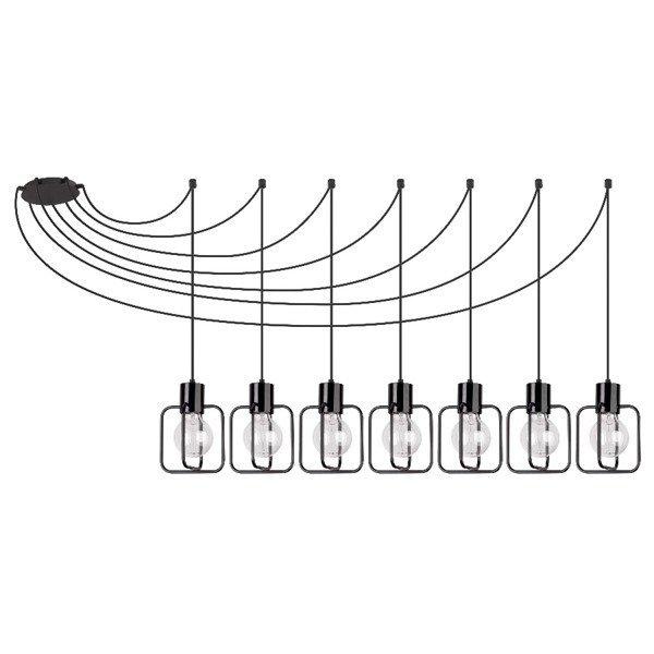 Lampa wisząca podwieszana AURA kwadrat VII czarna