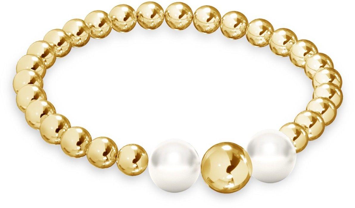 Elastyczny kulkowy pierścionek z perłami, srebro 925 : Srebro - kolor pokrycia - Pokrycie żółtym 18K złotem