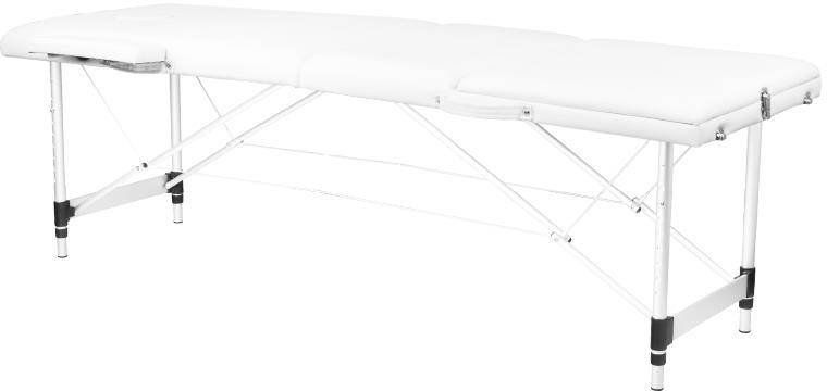 Stół składany do masażu aluminiowy komfort 3 segmentowy white