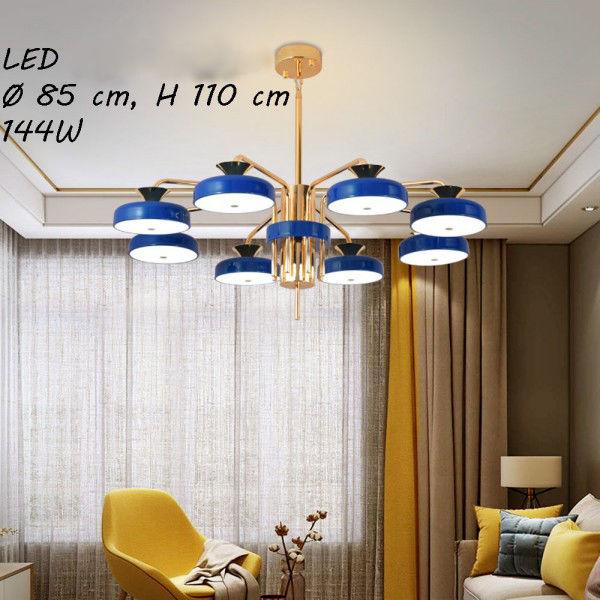 Lampa wisząca LED z pilotem niebiesko-złota 85cm L053