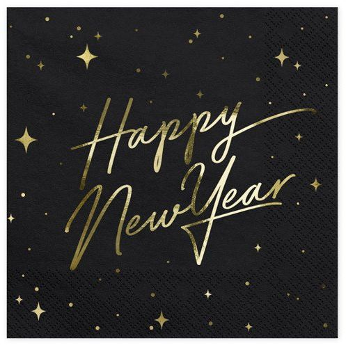 Serwetki Happy New Year czarne 33cm 20 sztuk SP33-82-010-019ME