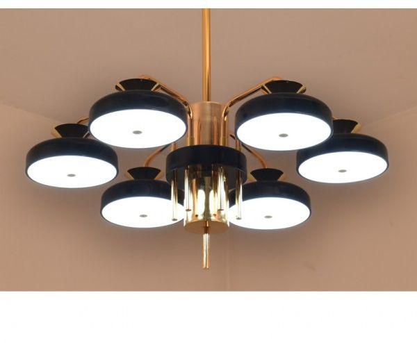 Lampa wisząca LED z pilotem czarno-złota 65cm L054