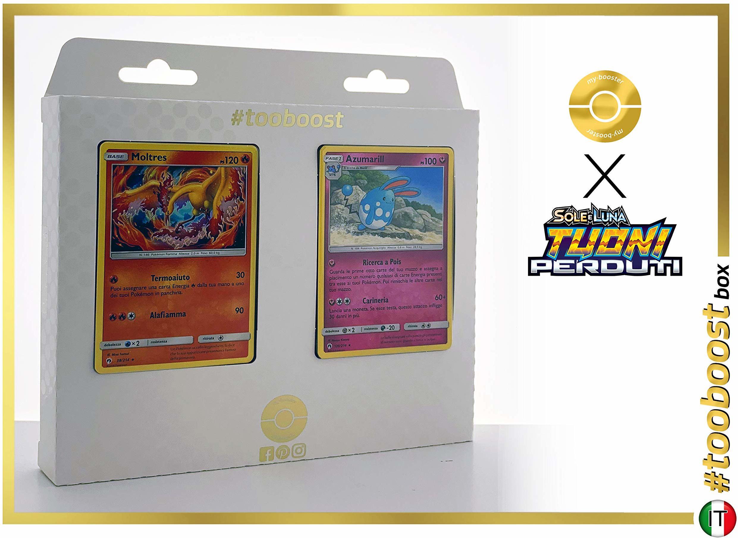 Moltres (Lavados) 38/214 & Azumarill 136/214  #tooboost X Sole E & Luna 8 Tuoni Perduti Box z 10 włoskimi kartami Pokémon + 1 Pokémon-Goodie
