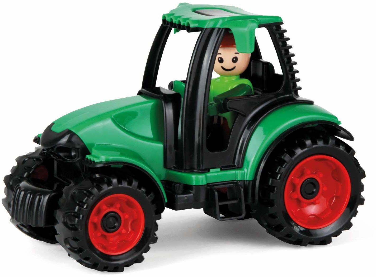 Lena 01624 - traktor, stabilny pojazd dziecięcy ok. 17 cm długości, mały pojazd dla dzieci od 2 lat, wytrzymały pojazd do piaskownicy, na plażę i do pokoju dziecięcego