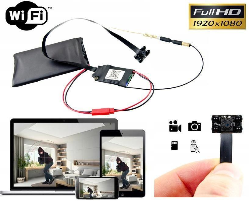 Szpiegowska Mini Kamera FULL HD (do ukrycia/zabudowy) WiFi/P2P Dz.-Nocna (cały świat!) + Zapis...