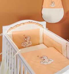 MAMO-TATO pościel 2-el Śpioch na chmurce brzoskwiniowy do łóżeczka 60x120cm