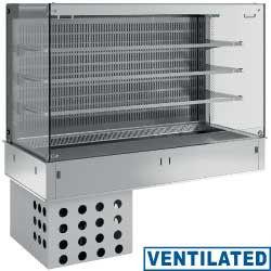 Regał chłodniczy 3-poziomowy kwadratowy wentylowany z zasłoną 4x GN 1/1 do zabudowy 1100W 230V -1  +7  1455x700x(H)1400mm