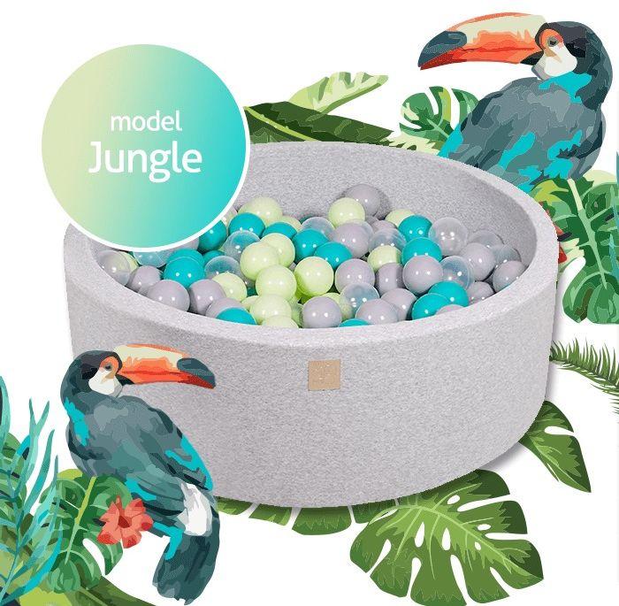 Suchy basen z piłeczkami 250 szt. w zestawie jungle, 2 rozmiary, meowbaby